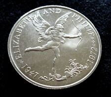 Guernsey 1972 25 Pence Elizebeth and Philip 25th Wedding Anniversary Cupid