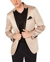 INC Mens Blazer Black Beige Size 2XL Satin Slim Fit Two Button Tuxedo $149 001