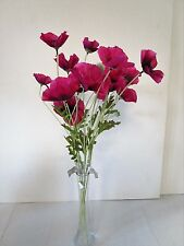 Pack of 6 Artificial Floral Hot Pink Poppy Flower Spray - 60cm - Fake Flowers