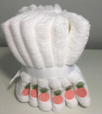 Coastal White Washcloths Set Of 6 Embroidered Coral Pineapple Tropical Guest NWT