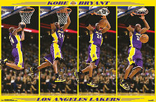 Kobe Bryant STOP-ACTION SLAM DUNK L.A. Lakers NBA Basketball Action Wall POSTER