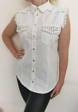 Mango Jeans White Shirt Top Blouse Sleeveless Elegant Size M Button Fastening