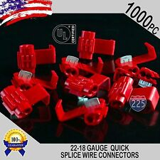 1000 Pack 22-18 Gauge Red Quick Splice Tap Wire Connectors Install Terminals UL