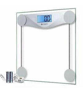 Etekcity Digital Body Weight Glass Bathroom Scale with Body Tape Measure Silver