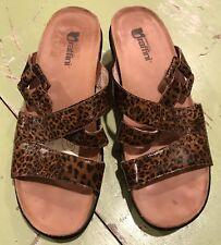 Umberto Raffini Diana Leopard Print Wedge Sandals Leather size 40