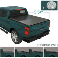"Soft 4-Fold Tonneau Cover For 2004-2014 Ford F150 With 5.5 Ft 66"" Bed Crew Cab"