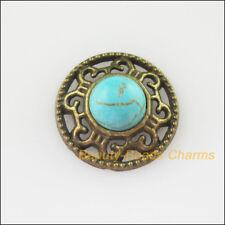 8Pcs Retro Antiqued Bronze Round Turquoise Charms Pendants Connectors 18mm