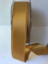 1 Inch Satin Grosgrain Edge Ribbon - May Arts - HN30 - Gold - 5 Yards