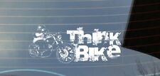 Think Bike, Harley, Chopper, safety, car window sticker - white