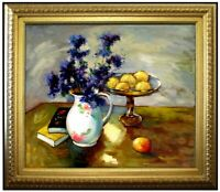 Framed, Still Life with Flowers and Fruits, Hand Painted Oil Painting 20x24in