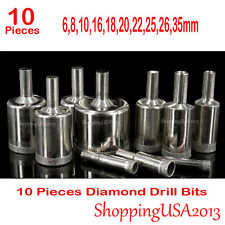 10 Pcs 6-35mm Diamond Coated Drill Bits Set Hole Saw Cutter Tool Chuck Glass@