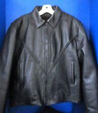 UNIK~Black GENUINE LEATHER MOTORCYCLE Braided JACKET w/ Zip-Out Liner~XXL
