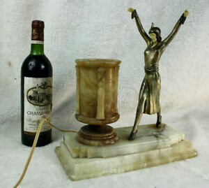 Art deco 1930 chryselephantine LAdy Dancer table lamp alabaster attr chiparus