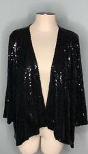Slinky Brand Size XL Black Sequin Party Holiday Open Front Cardigan