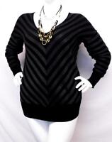 Lane Bryant v neck black striped women's career plus size sweater top 14/16
