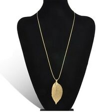 GOLD REAL SKELETON LEAF PENDANT NECKLACE / Fashion Jewellery Gift Idea Boho