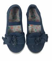 wonder nation girls shoes Size 9 Slip On Denim Canvas Bow Across Front