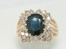 Saphir Ring 585 Gelbgold natürlicher 3ct Saphir   24 Brillanten 1,2ct