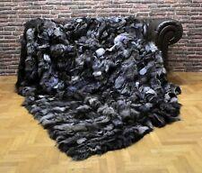 Luxury Real Silver Frost Fur Fox Throw Blanket