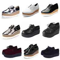 2019 Womens Creepers Platform Lace Up Wedge Oxfords Chunky Heels Brogue Shoes