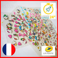 💅 LOT DE 2 HELLO KITTY NAIL ART - MANUCURE ONGLES DECO - STICKER AUTOCOLLANT
