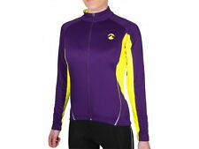 Piu Miglia Women's Full Zip Thermal Long Sleeve Ladies Purple Cycling Jersey Top