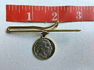 1936 Buffalo Nickel in Vintage Gold tone Tie Clip Clasp Bar
