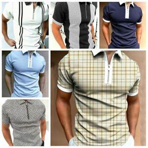 Polo Shirt Men Zipper Collared Casual Muscle Fitness Plaid Soft Golf Tee T-Shirt