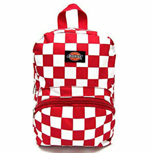 Dickies Unisex Mini Backpack Bag Checkered Red School Travel Casual