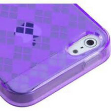 For Apple iPhone 4 4S TPU CANDY Gel Flexi Skin Case Phone Cover Purple Plaid