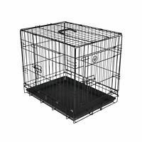 Pet Cage Kennel Playpen Carrier Crate With 2 Doors Dogs Cats Folding Black Metal