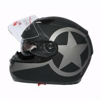 Matt Black DOT Star Dual Visor Full Face Motorcycle Helmet+Sun Shield M L XL US
