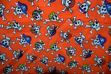 TL Care Wear Size S Orange Top with Skulls W/ Bandanas & Hats NWOT Halloween
