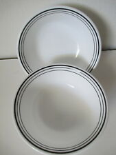 2 CORELLE BY CORNINGWARE CEREAL/SOUP BOWLS BLACK?WHITE LINEAGE PATTERN 6.25""