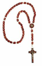 """Mens Saint St Benedict Wooden Rosary Beads with 2.5"""" Cross Crucifix - 19 Inch"""