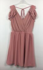 Asos Pink Wrap Style V Neck Cold Shoulder Dress Size 12 - B33