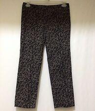 J. Jill Pants Womens 4 Petite Black Ivory Print Slim Ankle Cropped Capris