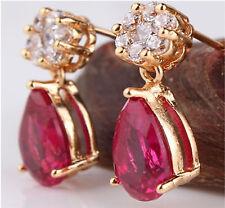 Pear Butterfly Drop/Dangle Ruby Costume Earrings