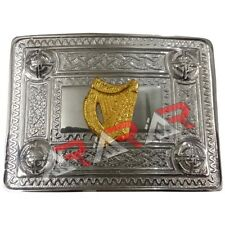 Scottish Kilt Belt Buckle Celtic Design with Irish Harp Badge Gold