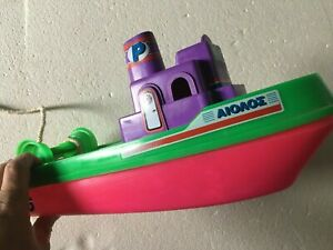 VINTAGE 80s GREEK TOY BOAT EOLOS MADE IN GREECE RARE