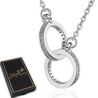 Ringe Kette Halskette 925 Sterling Silber Damen ❤ Swarovski® Kristalle ❤ im ETUI