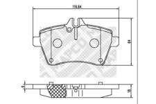 Bremsbelagsatz, Scheibenbremse für Bremsanlage Vorderachse MAPCO 6839