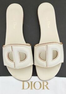 Christian Dior White Leather D-Club Logo Sandals Or Slides Size 36 1/2 With Bag