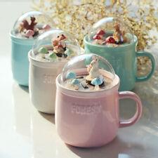 """Animal Forest"" Cute Ceramic Mug Cup with Lid Tea Milk Coffee Kids Drinkware"
