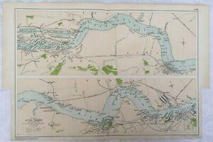 LARGE ORIGINAL ANTIQUE  LONDON MAP RIVER THAMES DOCKS BACON'S 1912