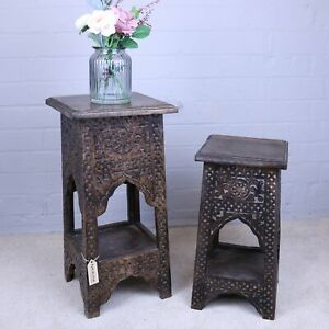 Jogi Mango Wood Side Table Temple Shape 2 Sizes Handcrafted