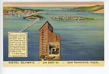 "Hotel Olympic ""Radio Reception...Drive In Garage"" RARE Vintage San Francisco 40s"