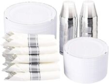350 Pieces Silver Plastic Plates Disposable Silverware Cups Service for 50!