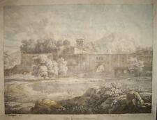 1817-ITALIA-ROMA-LAGO ALBANO-MARINO-RARA GRANDE VEDUTA-LITOGRAFIA ORIGINALE