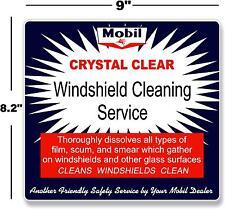 "(MOBI-STA-2) 9"" MOBIL WINDSHIELD SERVICE BOX DECAL MAN CAVE GASOLINE PUMP"